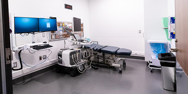 Medical imaging room with a bed at Cortellucci Vaughan Hospital